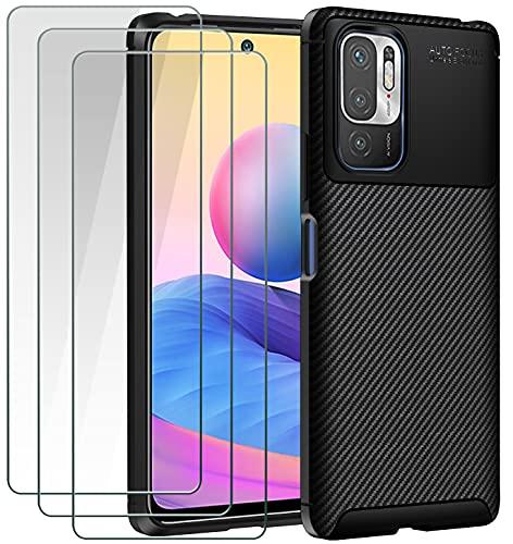 ivoler Funda para Xiaomi Redmi Note 10 5G / Poco M3 Pro 5G, con 3 Unidades Cristal Templado, Fibra de Carbono Carcasa Protectora Antigolpes Negro, Suave TPU Silicona Caso Anti-Choques Case Cover