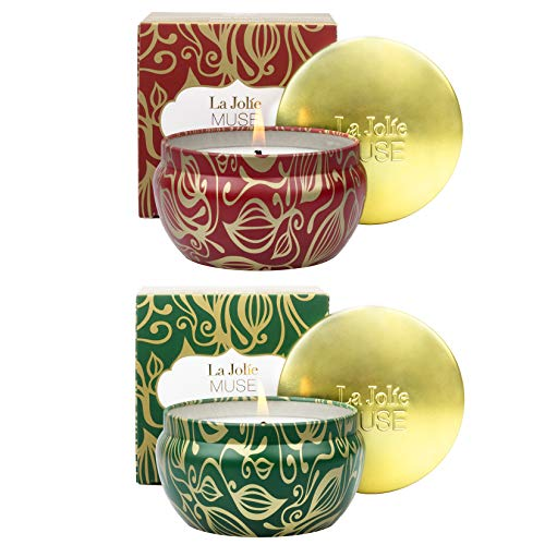 La Jolíe Muse Scented Candles 2 Set, Cedarwood Fir and Cinnamon Pumpkin, Holiday Winter Scented Candle Gift Set, 35-45H Burn Time