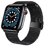 Amberry Ersatzarmband kompatibel mit Apple Watch Armband 38mm 40mm 42mm 44mm, Metall Edelstahl Ersatz Armband kompatibel mit iWatch Serie 6/SE/5/4/3/2/1 (Schwarz, 38/40mm)
