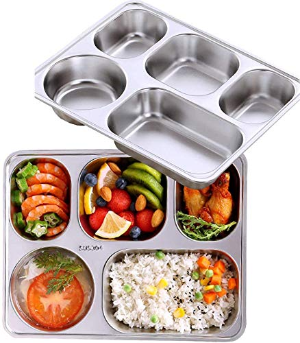 WDong Stainless steel rectangular divided plates, 5 sections, 11.2 inches x 8.7 inches, dishwasher safe tray, BPA-free (set of 2)