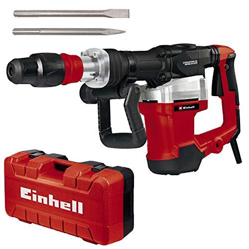 Einhell Marteau démolisseur TE-DH32 (1500W, force de frappe de 32 J, mandrin SDS-max, poignée principale anti-vibration + revêtement souple Softgrip, vendu avec pointeau et burin plat + E-box)