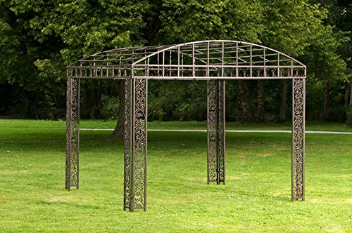 CLP Luxus Pavillon Klassik Aus Pulverbeschichtetem Eisen I Pavillion Mit Stilvollen Verzierungen I Garten Rankpavillon, Farbe:Bronze