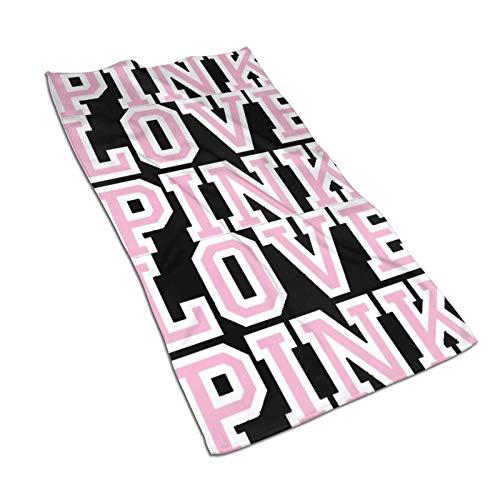 Victoria Secret Love Pink Toalla de microfibra de 27.5 x 15.7 pulgadas, utilizada para piscina, spa y fitness, ligera y de alta absorción de secado rápido