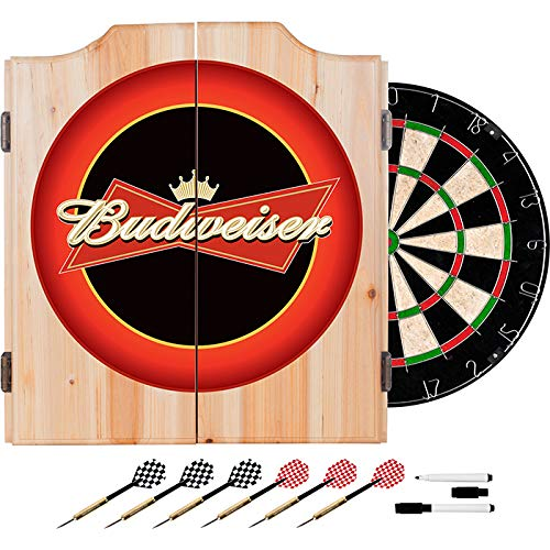 TMG Officially Licensed Budweiser Logo Design Deluxe Solid Wood Cabinet Complete Dart Set - Includes 6 Darts!