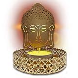 Pack x 2 - Portavelas Buda color dorado (incluye 2 velas). Porta velas decorativas para el hogar/oficina. Decoracion hindu candelabros elaborados 100% a mano.