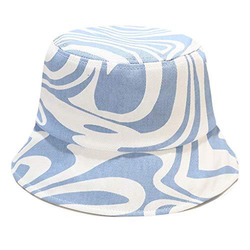 Guangruiorrty - Sombrero de pescador con estampado de rayas irregulares, estilo informal, para protección solar de verano