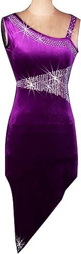 MoLiYanZi Costume de Compétition de Danse Latine pour Femme sans Bretelles Collier Oblique Robe de Danse Latine Cha Cha Dance VêteHommests de Danse Professionnels avec Strass