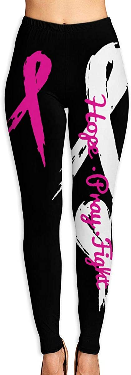 SUMSUNSHINE Hope Pray Fight Breast Cancer Awareness Women's Leggings Full Length Tummy Control Yoga Pants