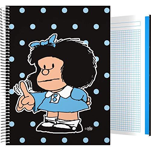 Grafoplás 16501972 Colección Mafalda Cuaderno, Cuadriculado 5 Mm, Modelo Lunares, A4