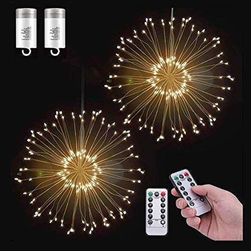 2 Pack LED Decorative Lights, 120 LED Dimmable Fairy Lights, Twinkle Starburst Lights, Waterproof Battery Operated with Remote Control for Home, Patio, Parties, Wedding, Christmas (2, Warm White)