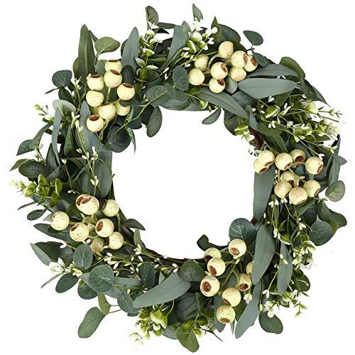 Eukalyptus Girlande Künstlich Pflanze,Wandkranz Trockenblumen Türkranz Eukalyptus Dekorative Kränze Hängen Reben Blätter für Hause Küchen Garten Büro Hochzeit oder als Wanddekoration