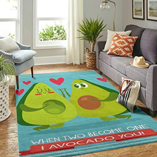 Veryday Avocado I Love You - Alfombra de lujo para salón, dormitorio, pasillo, 122 x 183 cm, color blanco