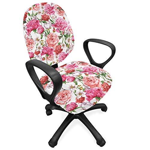 ABAKUHAUS Waterverf Hoes voor Bureaustoel, Roze Pioenen Rozen, Decoratieve en Beschermende Hoes van Stretchstof, Veelkleurig