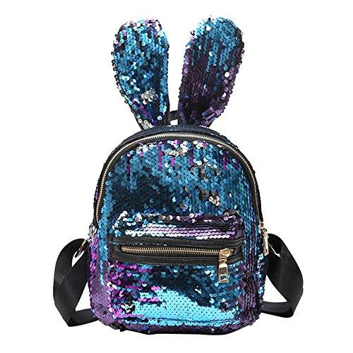 LinHut Mädchen Rucksack, Umhängetasche Umhängetasche mit niedlichen Hasen Kaninchen Muster-Mini Pailletten Rucksack Kaninchen Ohren Umhängetasche (blau)