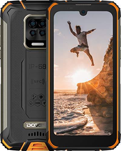 DOOGEE S59 Pro 2021 10050mAh Móvil 4GB RAM+128GB ROM, lP68 IP69K Movil Resistente 4G, Potente Altavoz 2 W Móvil Antigolpes, Cámara Cuádruple 16MP, Android 10, 5.71inch, NFC/GPS, Naranja