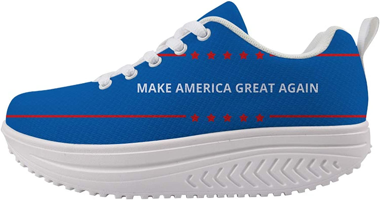 Owaheson Swing Platform Toning Fitness Casual Walking shoes Wedge Sneaker Women Make America Great Again