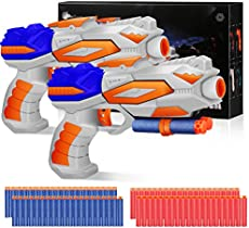 Duckura Toy Guns for Kids 2 Pack, Blaster Gun with 80 Foam Refill Darts Compatible for Nerf Fortnite, Christmas Birthday Party Favor Toys Gifts for Boys Girls Age 3 4 5 6 and Up