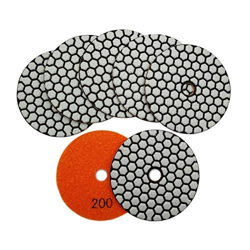 SHDIATOOL Trockene Diamant Polierscheibe 7 Stk. Streugut 200 für Granit Stein Beton Marmor Dia 4 Zoll/100MM