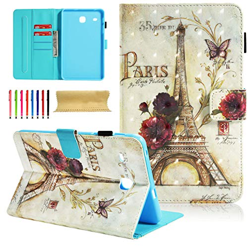 Galaxy Tab E 8.0' Case, Samsung SM-T377a Case, Cookk PU Leather Flip Stand Case [Card Holder] [Auto Sleep/Wake] Wallet Case Cover Samsung Galaxy Tab E T377/T375 8.0 inch Tablet, Retro Tower