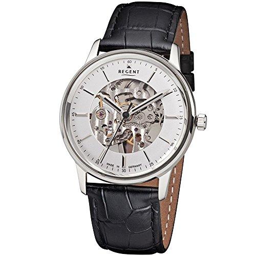 Regent Herren-Uhren Analog Handaufzug One Size Schwarz Leder 32002036