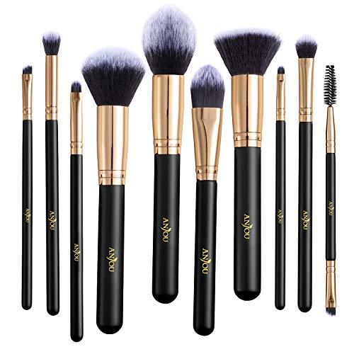 Make-up Pinselset, Anjou 10 Stück Kosmetikpinsel für Foundation, Anmischen, Rouge, Concealer,...
