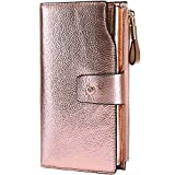 Itslife Women's RFID Blocking Large Capacity Luxury Wax Genuine Leather Clutch Wallet Card Holder Organizer Ladies Purse (3-Pebbled Champagne Gold)