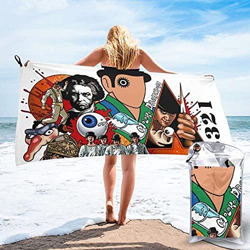 A-Clo-Ck-Work-Ora-Nge - Toalla de playa de microfibra absorbente de secado rápido y ligera, toallas de viaje suaves con bolsa de transporte para gimnasio, camping, yoga y picnic