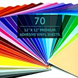 Bright Idea Permanent Vinyl Sheets - 70 Pack 12x12   Adhesive Vinyl Sheets, Assorted Colors (Glossy, Matte, Metallic) Permanent Vinyl Bundle Pack for Crafters - Vinyl for Cricut and Silhouette