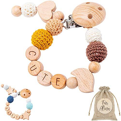Schnullerkette mit Namen für Junge und Mädchen aus Naturholz - 100% BPA Frei- 100% Naturholz - süße Formen - satte Farben - glatte Öberfläche individuell gestaltbar