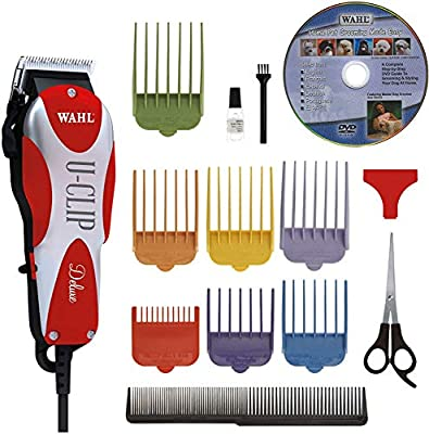 Wahl Professional Animal Deluxe U-Clip Pet, Dog, & Cat Clipper & Grooming Kit (#9484-300), Red and Chrome from Wahl Clipper Corp.
