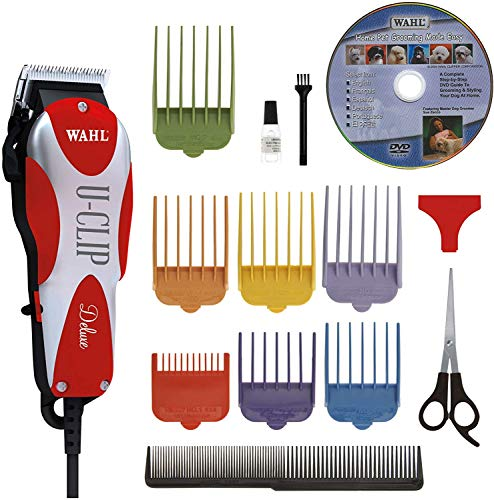 Wahl Professional Animal Deluxe U-Clip Pet, Dog, & Cat Clipper & Grooming Kit (#9484-300), Red and...