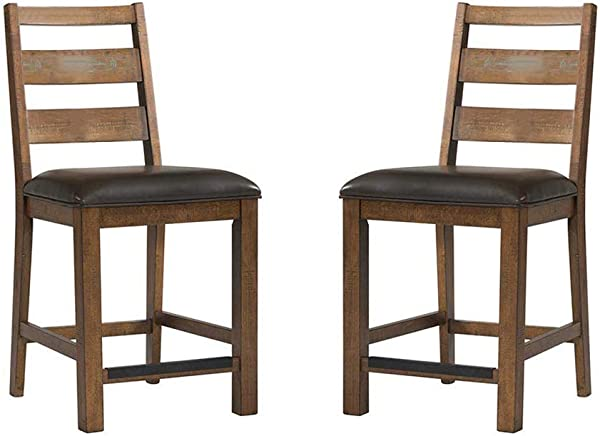 Intercon Taos Canyon Brown Rustic 24 Inch Ladderback Barstool 2 Pack