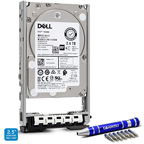 Dell | 400-AUQX | 2.4TB 10K SAS 2.5-Inch PowerEdge Enterprise Hard Drive in 13G Tray Bundle with Compatily Screwdriver Compatible with 400-AVBX W9MNK R720 R730 R630