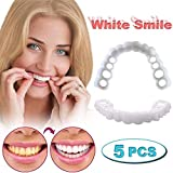 Law 5 PCS Instant Perfect Smile Clip on Veneers (Work for Top) Top Temporary Smile Cosmetic Teeth No Pain No Drilling for Men and Women