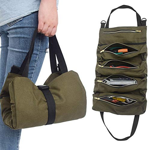 SunshineFace Canvas Tool Pouch, Portable Spanner Wrench Tool Roll Up Storage Bag Organizer Pouches Case