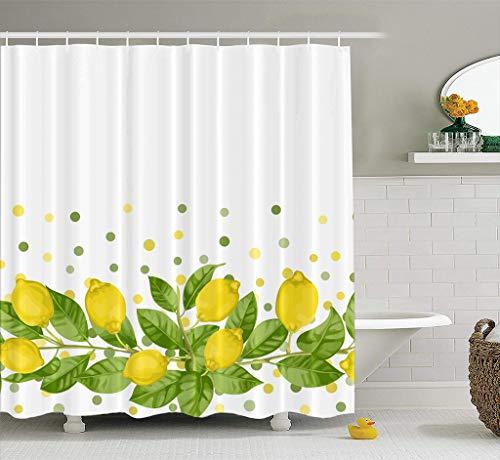 Decorative Fabric Shower Curtain Lemon