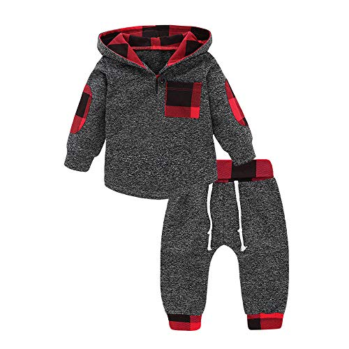 Sensail Infant Toddler Baby Boys Girls Plaid Hooded Pullover Pantalon Carreaux vêtements Ensemble (Gris, 18Mois)