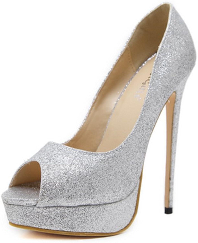 FORTUN Leak-Toe Glitter Powder Sandals Dress Dress Platform Heels Sandals