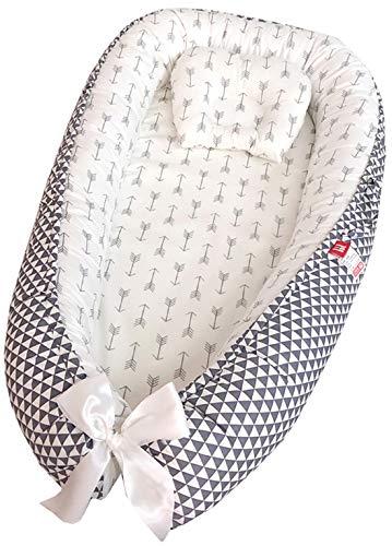 Hayisugar Babynest Kuschelnest aus Baumwolle extra weich und sicher, Babynestchen Nestchen Faltbett Reisebett mit Baby Kissen für Babys Säuglinge, Grau Dreieck, 85cm x 50cm