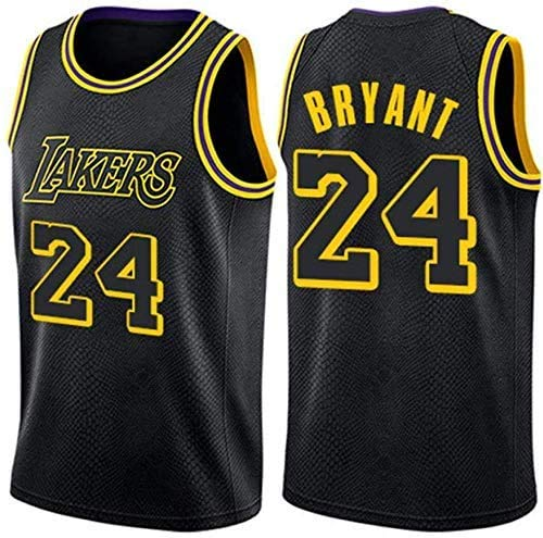 Camiseta de Baloncesto para Hombre, NBA, Los Angeles Lakers #32 Magic Johnson, Transpirable y Resistente al Desgaste Camiseta para Fan (Black Mamba 24, S)