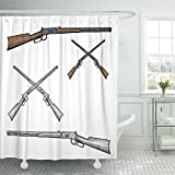 Esdtfuy Shower Curtain Set Waterproof Adjustable Polyester Fabric Gun Hand Drawn Old Western Style Rifle West Cowboy Etching Weapon Woodcut 72 X 78 Inches Set with Hooks For Bathroom 72x72 Inch