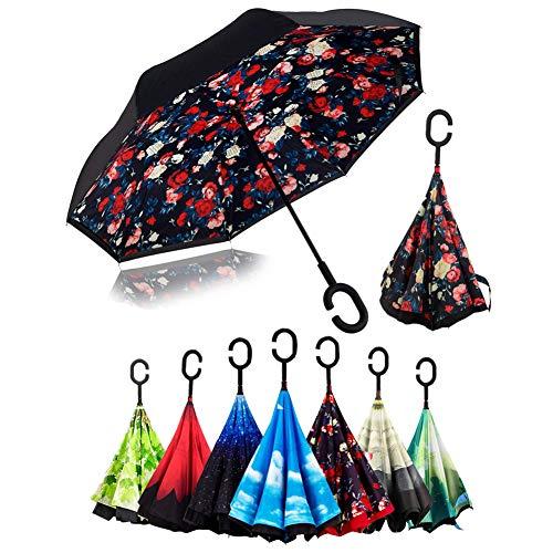 Reverse Double Layer Innovative Winddicht Schirm Inverted Stockschirme mit C Griff für Reisen und Auto Outdoor