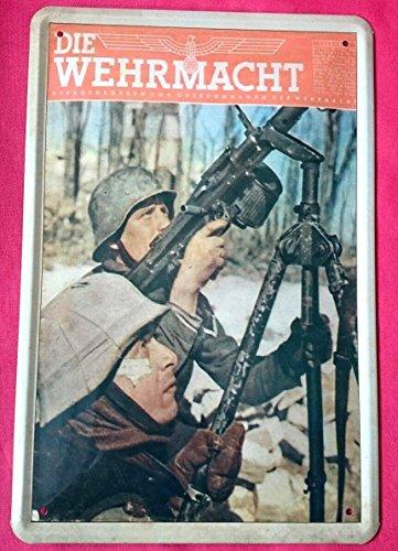 Blechschild 20x30 cm Soldat Wehrmacht Weltkrieg II Deutsches Reich Ostfront Maschinengewehr