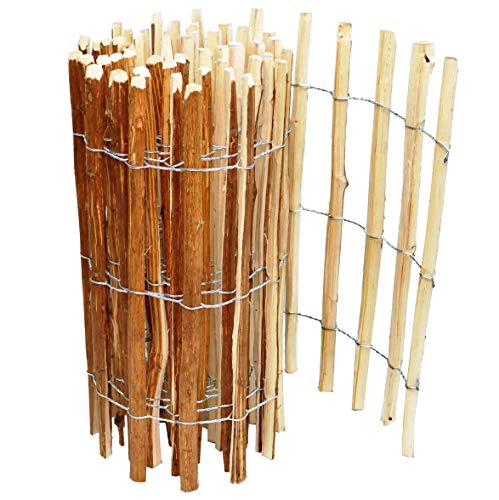 BOGATECO Staketenzaun Haselnuss Kastanie | Holz-Zaun 100 cm Hoch & 500 cm Lang | Lattennabstand 7-8 cm | Perfekt als Gartenzaun