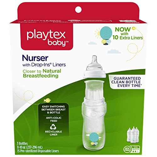 Playtex Baby Nurser Bottle with Disposable Drop-Ins Liners, for Breastfed Babies, 8 Ounce...