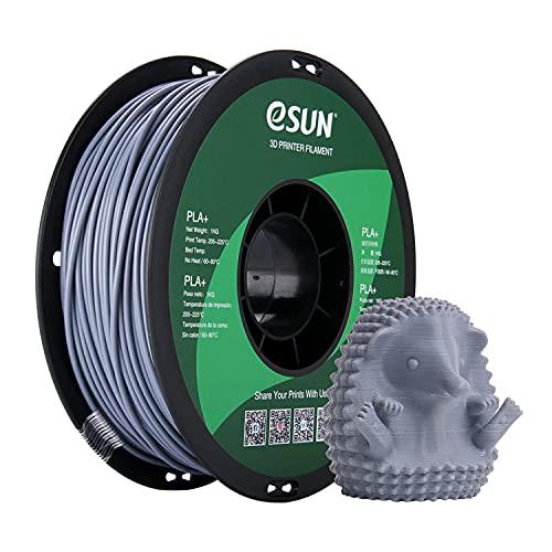 eSUN Filamento PLA Plus 2.85mm, Stampante 3D Filamento PLA+, Precisione Dimensionale +/- 0.03mm, Bobina da 1KG (2.2 LBS) Materiali di Stampa 3D per Stampante 3D, Grigio
