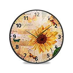 Sunflower Large Wall Clock, Yellow Sunflower and Butterfly Silent Non Ticking Wall Clock Bedroom Kitchen Home Decor Clocks Metal Frame Glass Cover,12 inch