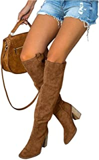 Womens Over The Knee Riding Boots Wide Calf Chunky High...