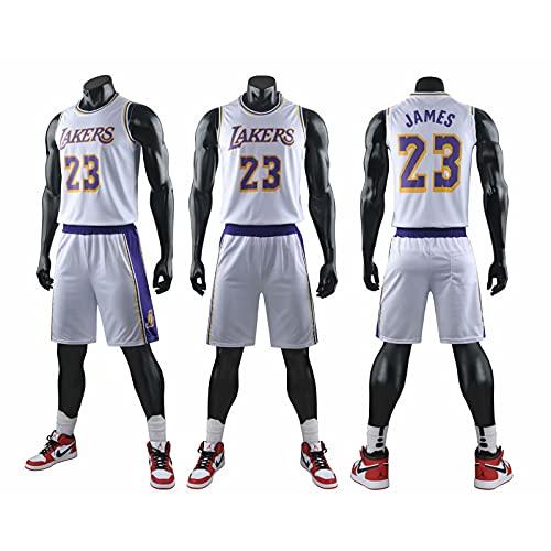 QWESHTU Uniforme de Baloncesto Retro NBA Lakers 23# Camisetas de Baloncesto para Hombre Chaleco Transpirable Camiseta sin Mangas con Bordado clásico,Blanco,3XL