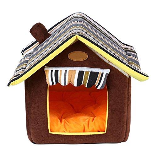 Casa para mascota Honeysuck, suave, con cojín extraíble, color café